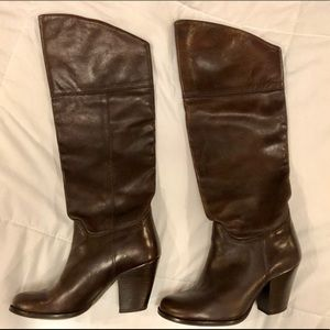 Aldo Brown Leather Knee Boots